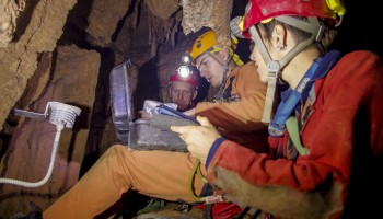 Several meteorological parameters are measured in the cave's air. Credits: ESA-V.Crobu