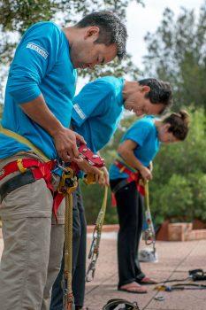 Aki, Pedro and Jessica bow to the progression training. Credits: ESA–V. Crobu