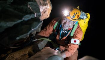 Japanese commander Aki Hoshide on day 1 underground. Credits: ESA–V. Crobu