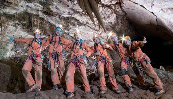 Cavenauts on day 3. From left: NASA's Jessica Meir, ESA's Pedro Duque, taikonaut Ye Guangfu, cosmonaut Sergei Korsakov, NASA's Ricky Arnold and Japanese astronaut Aki Hoshide. Credits: ESA–V. Crobu