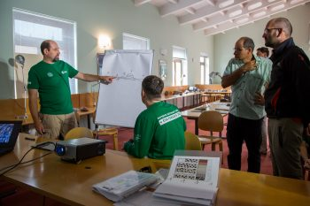 Author teaching Mars geology during Pangaea course. Credits: ESA–T. Bernabei