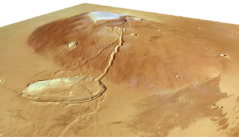 Side view of Ceraunius Tholus from HRSC stereo DTM. Credits: ESA, DLR, FU-Berlin (G. Neukum)