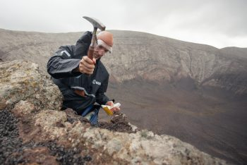 ESA astronaut Luca Parmitano taking samples with geologists hammer during Pangaea. Credits: ESA–M.Bernabei