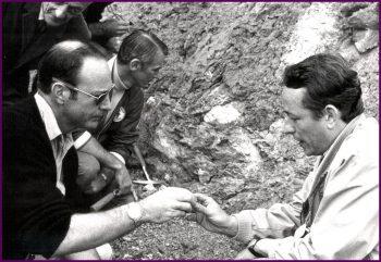 Apollo 14 field trip to Nördlingen Ries. From the left: Professor Wolf von Engelhardt, Dr. Ed Mitchell, Gene Cernan, and Dr. Stöffler. Credits: NASA
