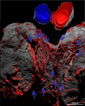 Processed images of Comet 67P with vertical cliffs separating terraces shown in red, brought geologists to infer strata forming its nucleus. The two lobes are formed by two independent onion-like structures. Credits: Matteo Massironi et al