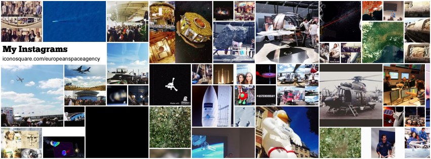Mosaic of images posted on ESA's instagram channel. Credit: iconosquare.com, ESA & partners.