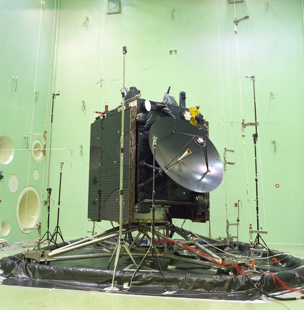 Rosetta in acoustic test chamber (Large European Acoustic Facility, LEAF). Image credit: ESA.