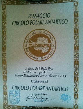 Crossing the Antarctic circle diploma. Credits: IPEV/PNRA/ESA-A. Golemis