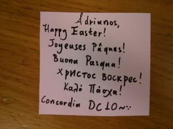 Accompanying Easter card