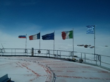 Flags flying proud at the beginning of the winter.  Credits: ESA/IPEV/ENEA-A. Golemis