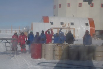 Friends waving us off as we board the plane to the Antarctic coast. Credits: IPEV/PNRA-C. Lenormant