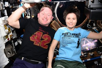 NASA astronaut Butch Wilmore and ESA astronaut Samantha Cristoforetti in space. Credits: ESA/NASA
