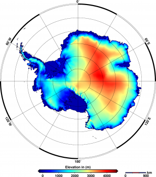 Antarctic ice sheet height measured by Cryosat. Credits: Helm et al., The Cryosphere, 2014