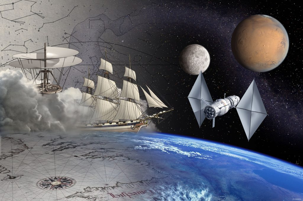 Step by step, humankind expands its presence, reaching for the stars.