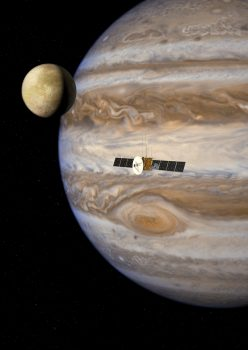 ESA's JUICE (JUpiter ICy moons Explorer) will study moons of the Jovian system, some of which are believed to have subsurface oceans. Credits: ESA