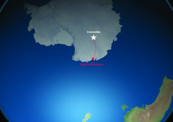 The traverse travels 1300 km from the coast to Concordia. Credits: ESA/IPEV/PNRA–B. Healey