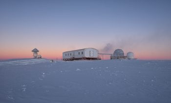 The transition from winter to summer gave rise to stunning pink and blue horizons. Credits: ESA/IPEV/PNRA–B. Healey