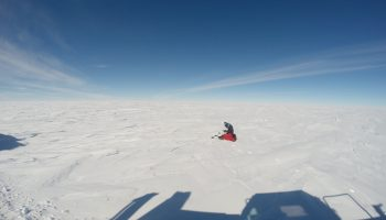 "Taking snow samples for the ""BacFinder"" experiment. Credits: ESA/IPEV/PNRA–B. Healey"