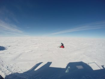 """Taking snow samples for the """"BacFinder"""" experiment. Credits: ESA/IPEV/PNRA–B. Healey"""
