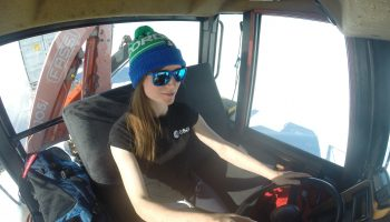 Beth driving the caterpillar Challenger tractor. Credits: ESA/IPEV/PNRA–B. Healey
