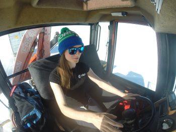 Beth driving the caterpillar Challenger tractor. Credits: ESA/IPEV/PNRA–B. Healey