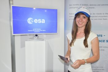 Beth presenting her adventures during the touring WhiteSpace exhibition, here at the Farnborough International Airshow 2016. Credits: ESA