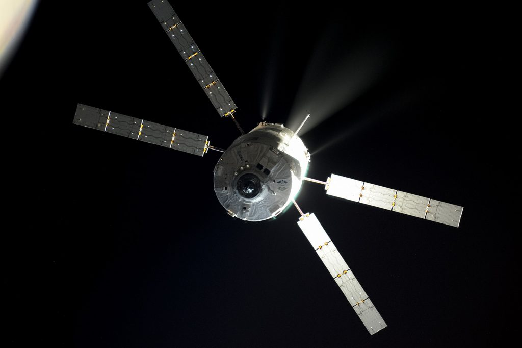 Automated Transfer Vehicle approaching the International Space Station. Roscosmos–O. Artemyev
