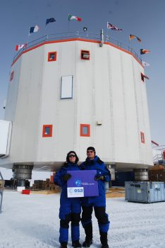 Carole and Didier in front of Concordia base. Credits: ESA/IPEV/PNRA