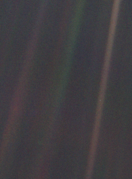 """Look again at that dot. That's here. That's home. That's us ""- Carl Sagan again. The photo ""Pale Blue Dot"" (our Earth) was taken in 1990 by the Voyager 1 space probe on the edge of our solar system, a small 6.4 billion km away from us. Credits: NASA"