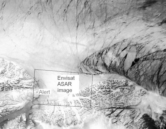 AVHRR/NOAA image showing large area around Alert, Canada Credit: DMI/Polar View