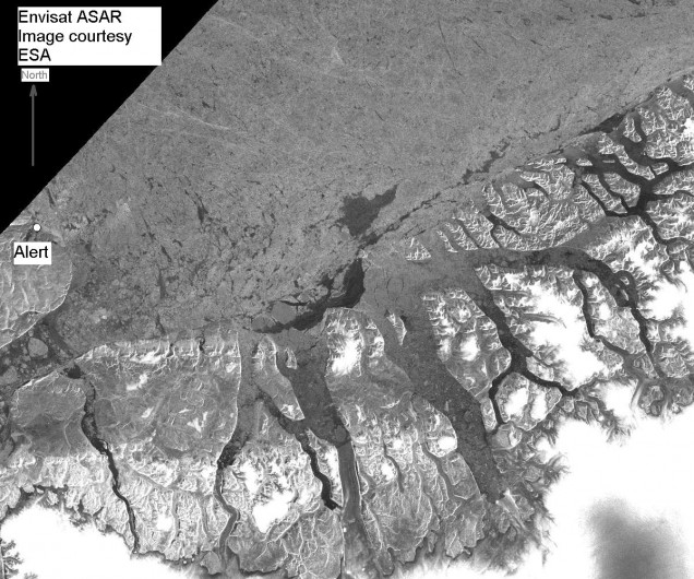 ASAR/ENVISAT image showing ice detail off Alert, Canada (Credit: ESA)