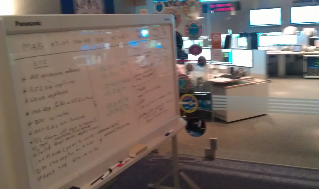 ESOC Briefing Room planning board - a simple yet critical tool in mission operations! Credit: ESA