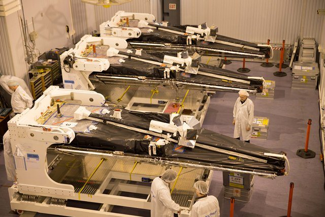 Three Swarm satellites in Plesetsk (ESA/M. Shafiq)