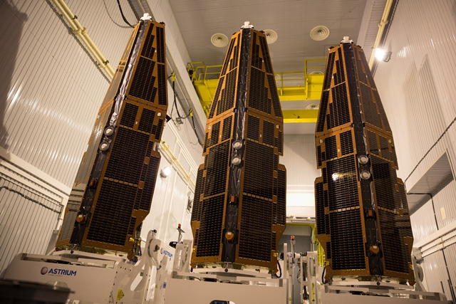 All three Swarm satellites in vertical positions, ready to join the launch adapter. The constellation is being prepared for launch in Plesetsk, Russia.