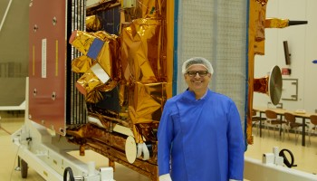 Svein Lokas, ESA's Sentinel-1A Launch Campaign Manager, happy that the satellite has arrived in Kourou safely! (ESA–M. Shafiq)