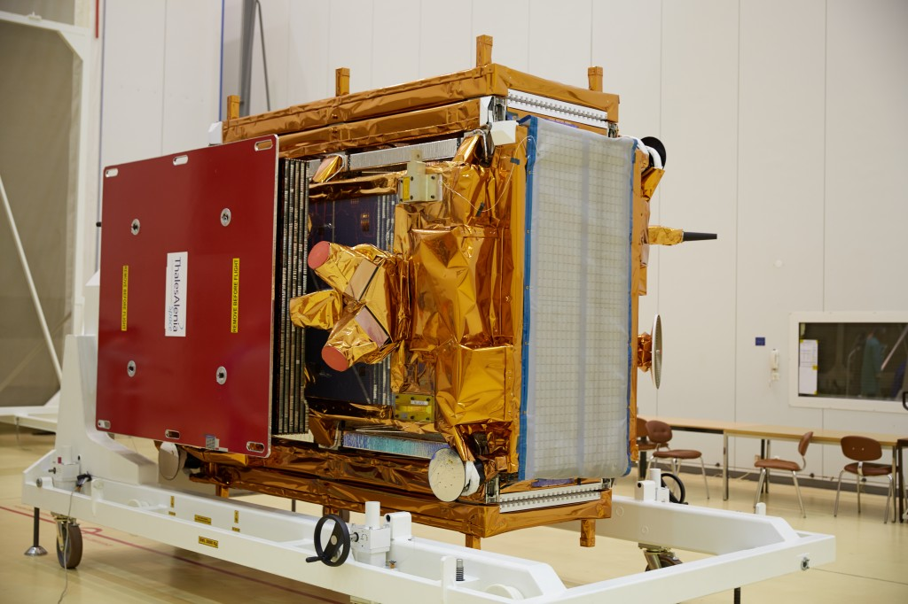 Sentinel-1A safe and sound after its journey to Europe's spaceport in French Guiana. (ESA–M. Shafiq)