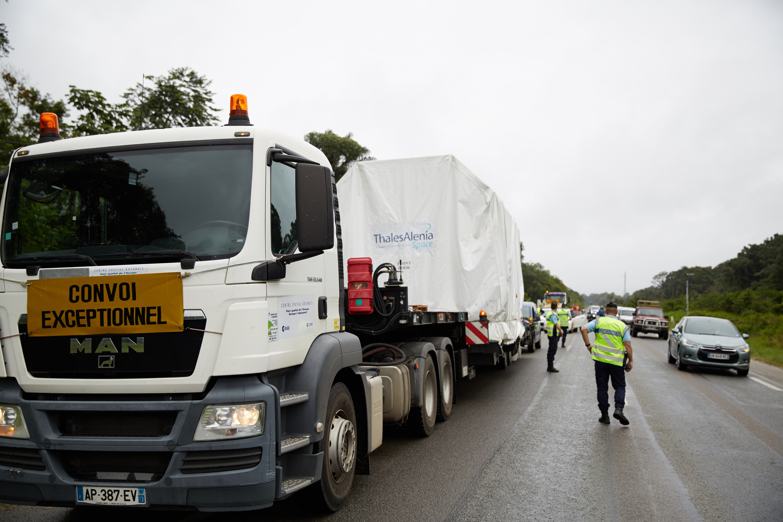 Sentinel-1A convoy en route to Kourou. (ESA–M. Shafiq)