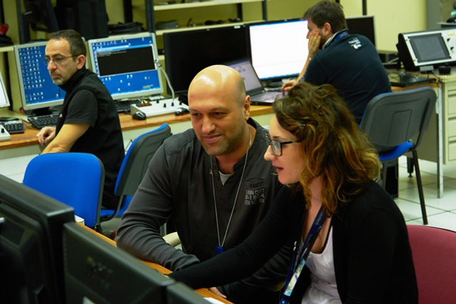 At one of the consoles. (ESA–B. v/d Elst)