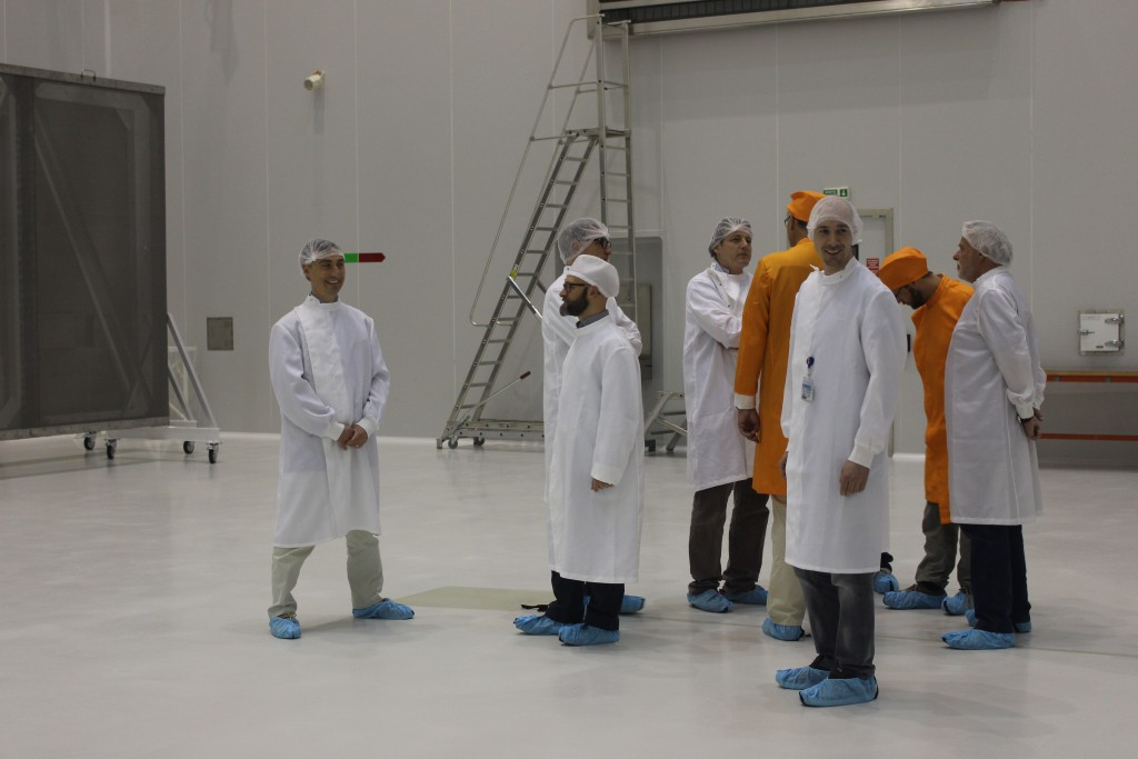 Checking the cleanroom before Sentinel-2's arrival. (ESA/C. Wildner)