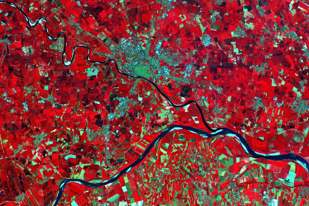 A close-up of an area in the Po Valley, Italy, processed using the high-resolution infrared spectral channel.  (Credits: Copernicus data (2015)/ESA)