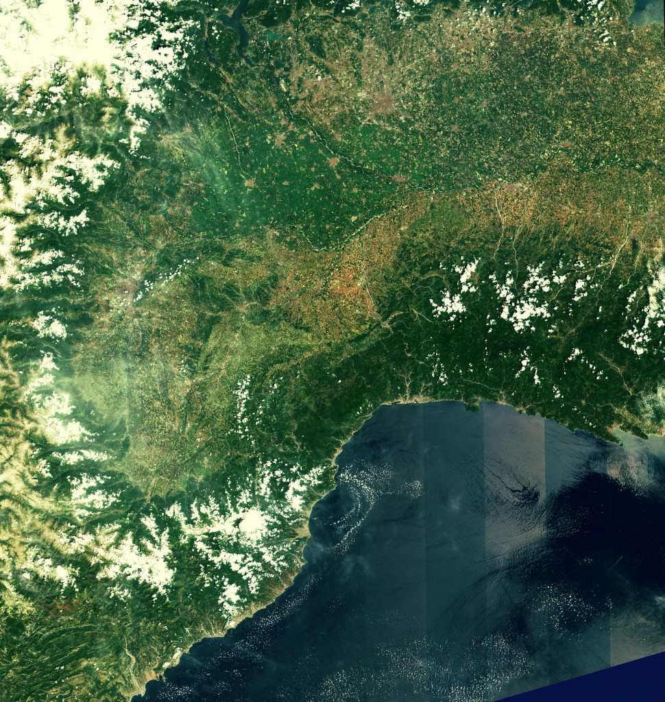 First image from Sentinel-2A: Northwest Italy and southern France (Credits: Copernicus data (2015)/ESA)