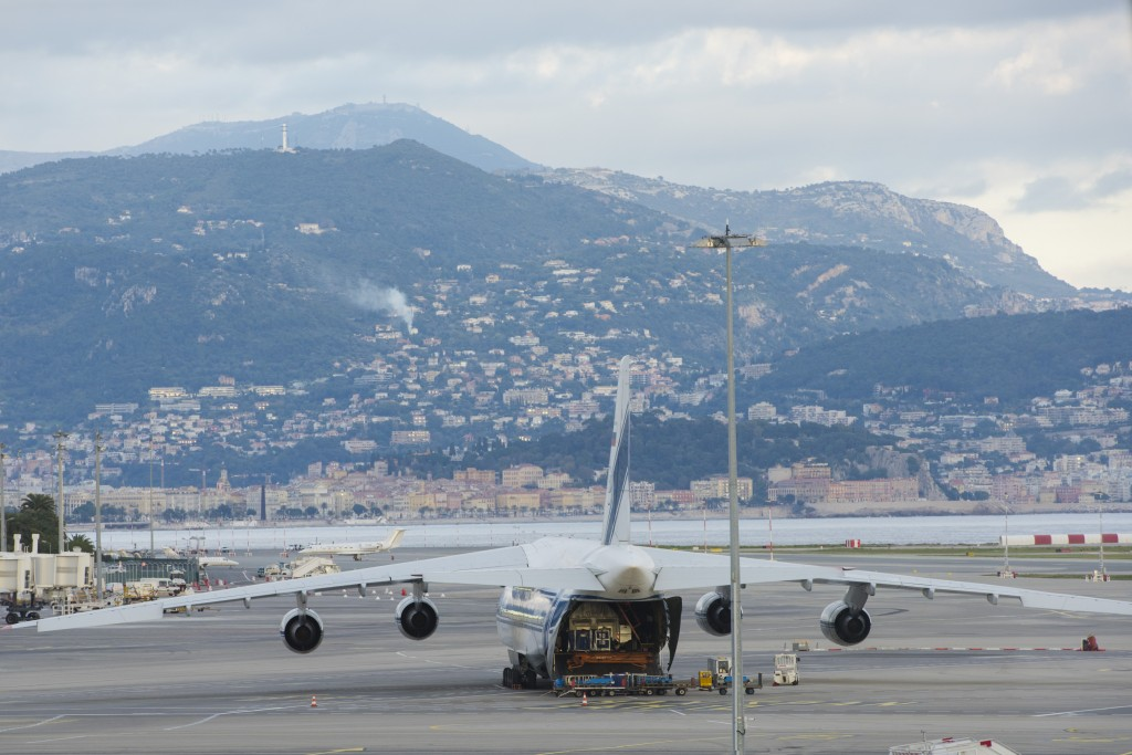 Sentinel-3A ready and waiting to leave Nice airport. (Credits: ESA)
