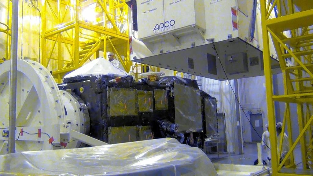 Sentinel-3A being put into storage for the Christmas break. (ESA)