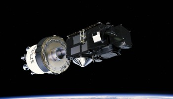Sentinel-3A and Breeze upper stage. (ESA/ATG medialab)