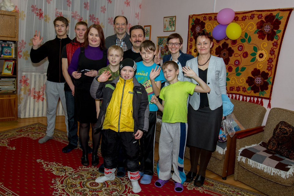 Visiting the orphanage in Plesetsk. (ESA)