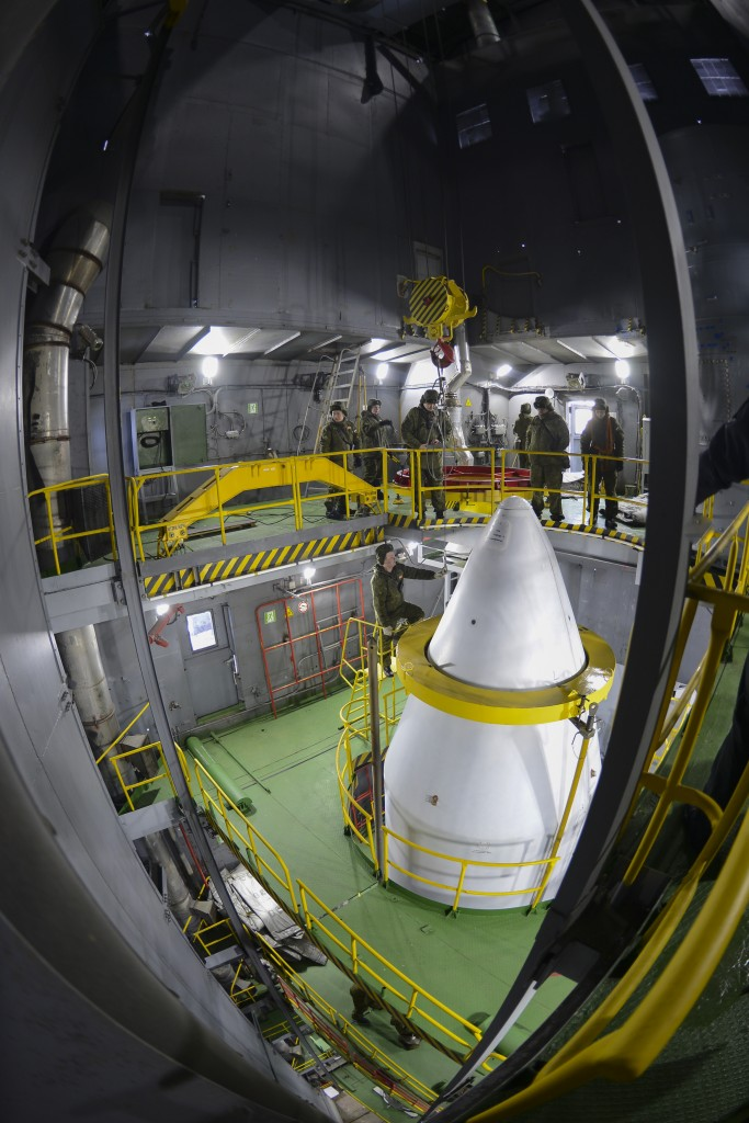 Fairing tip in the tower. (ESA–Stephane Corvaja, 2016)