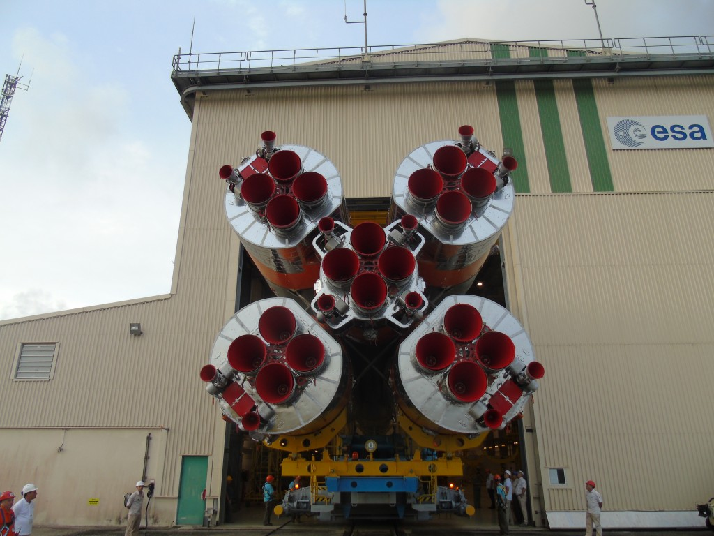 Soyuz heads for the launch pad. (ESA)