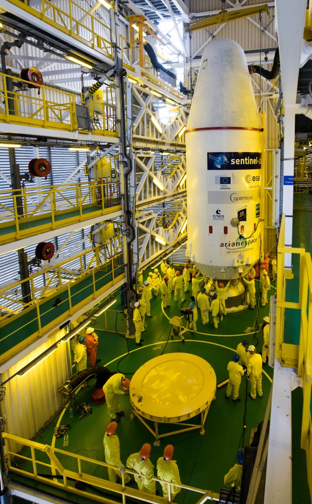 Joining Soyuz in the launch tower. (ESA–Manuel Pedoussaut, 2016)
