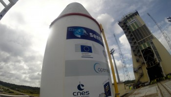 Sentinel-1B heads to launch tower Credit: ESA–Manuel Pedoussaut