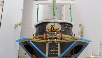 FYS and Microscope nstalled inside a fairing-shaped container offering a controlled environment. (ESA)